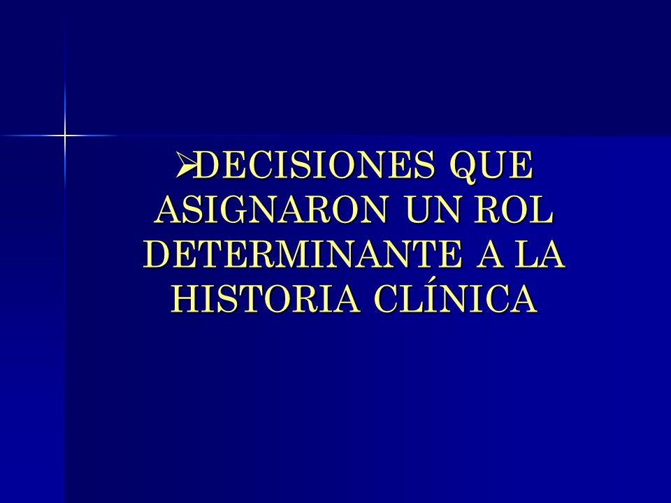DECISIONES QUE ASIGNARON UN ROL DETERMINANTE A LA HISTORIA CLÍNICA DECISIONES QUE ASIGNARON UN ROL DETERMINANTE A LA HISTORIA CLÍNICA
