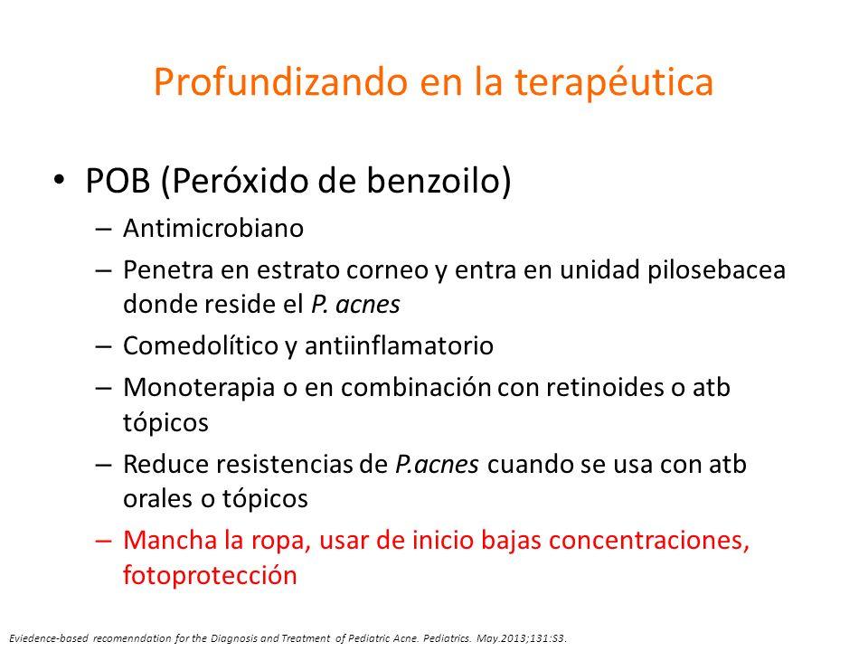 Profundizando en la terapéutica POB (Peróxido de benzoilo) – Antimicrobiano – Penetra en estrato corneo y entra en unidad pilosebacea donde reside el