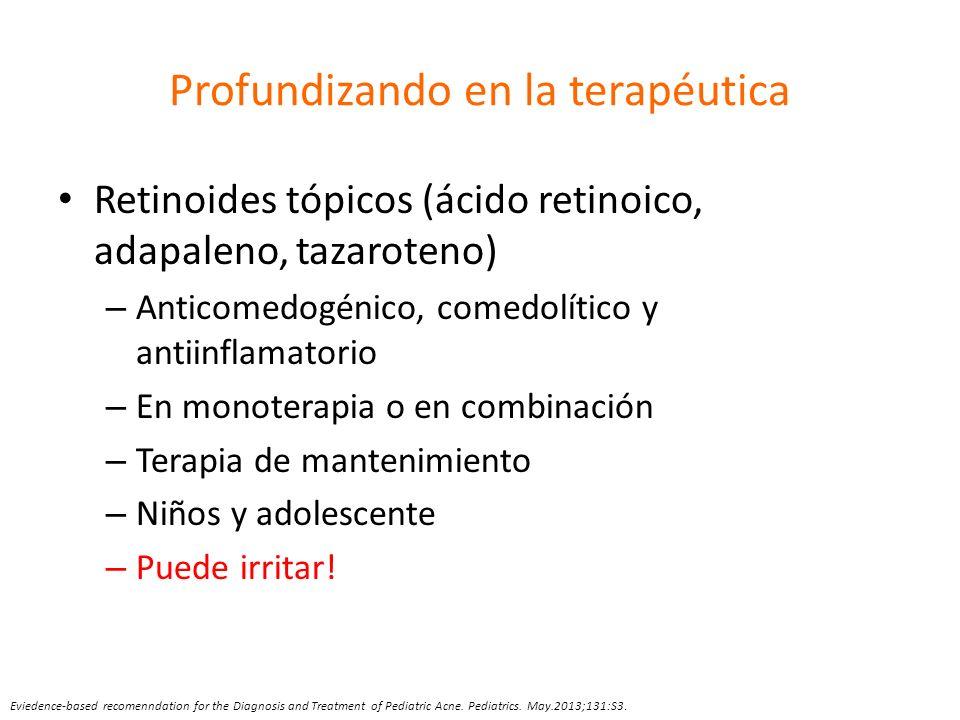 Profundizando en la terapéutica Retinoides tópicos (ácido retinoico, adapaleno, tazaroteno) – Anticomedogénico, comedolítico y antiinflamatorio – En m