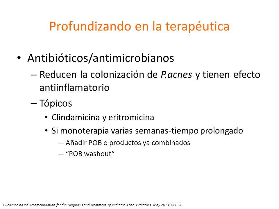 Profundizando en la terapéutica Antibióticos/antimicrobianos – Reducen la colonización de P.acnes y tienen efecto antiinflamatorio – Tópicos Clindamic
