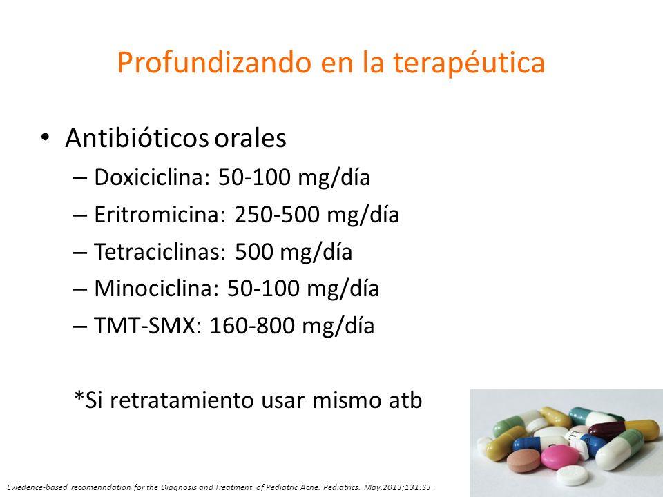 Profundizando en la terapéutica Antibióticos orales – Doxiciclina: 50-100 mg/día – Eritromicina: 250-500 mg/día – Tetraciclinas: 500 mg/día – Minocicl