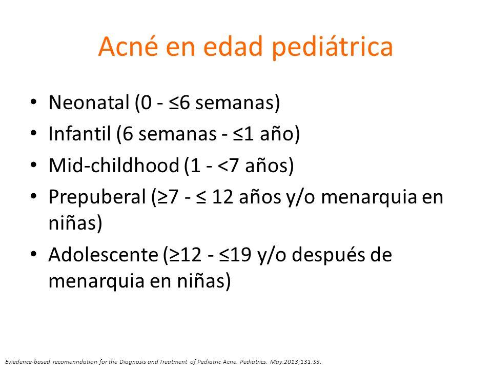 Acné en edad pediátrica Neonatal (0 - 6 semanas) Infantil (6 semanas - 1 año) Mid-childhood (1 - <7 años) Prepuberal (7 - 12 años y/o menarquia en niñ