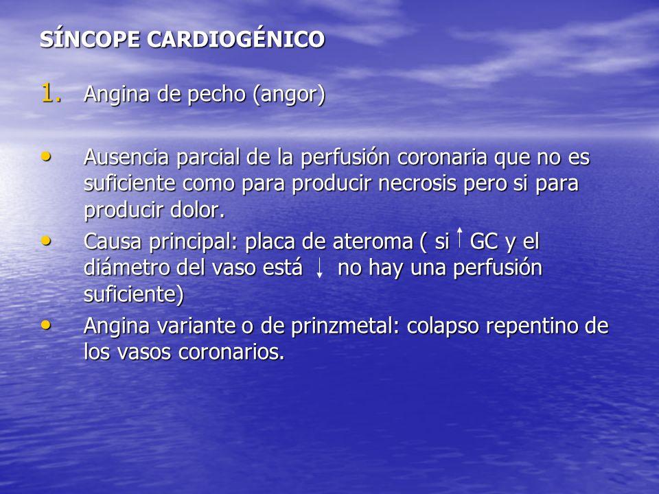 SÍNCOPE CARDIOGÉNICO 1. Angina de pecho (angor) Ausencia parcial de la perfusión coronaria que no es suficiente como para producir necrosis pero si pa