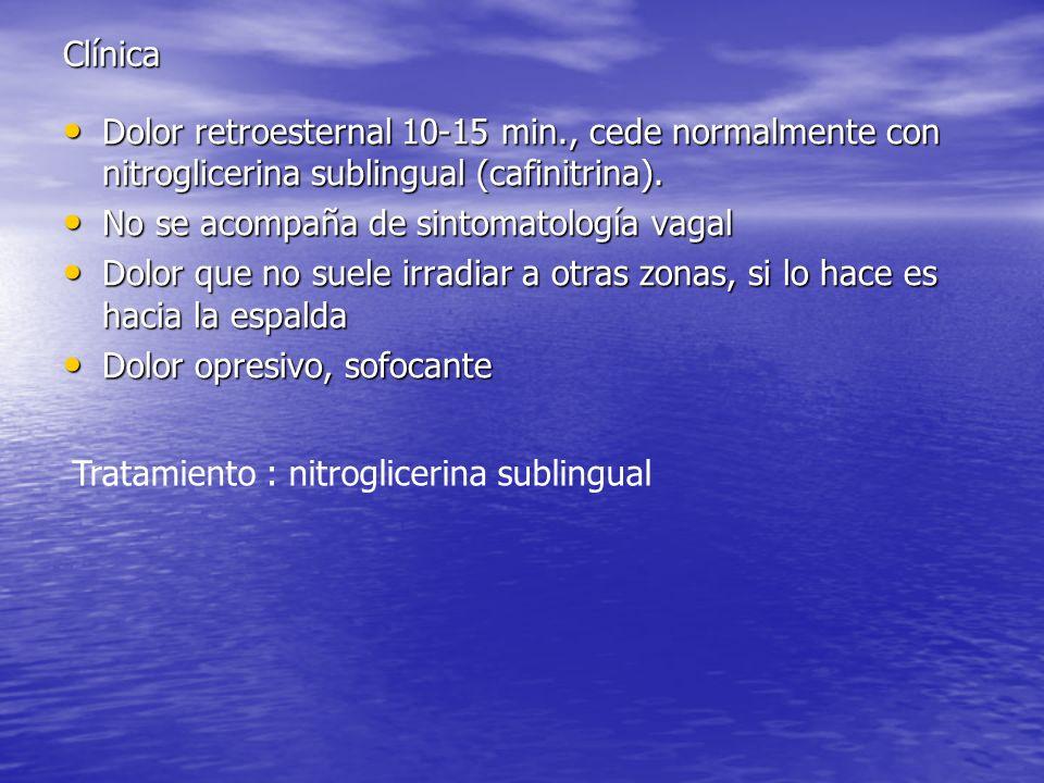 Clínica Dolor retroesternal 10-15 min., cede normalmente con nitroglicerina sublingual (cafinitrina). Dolor retroesternal 10-15 min., cede normalmente