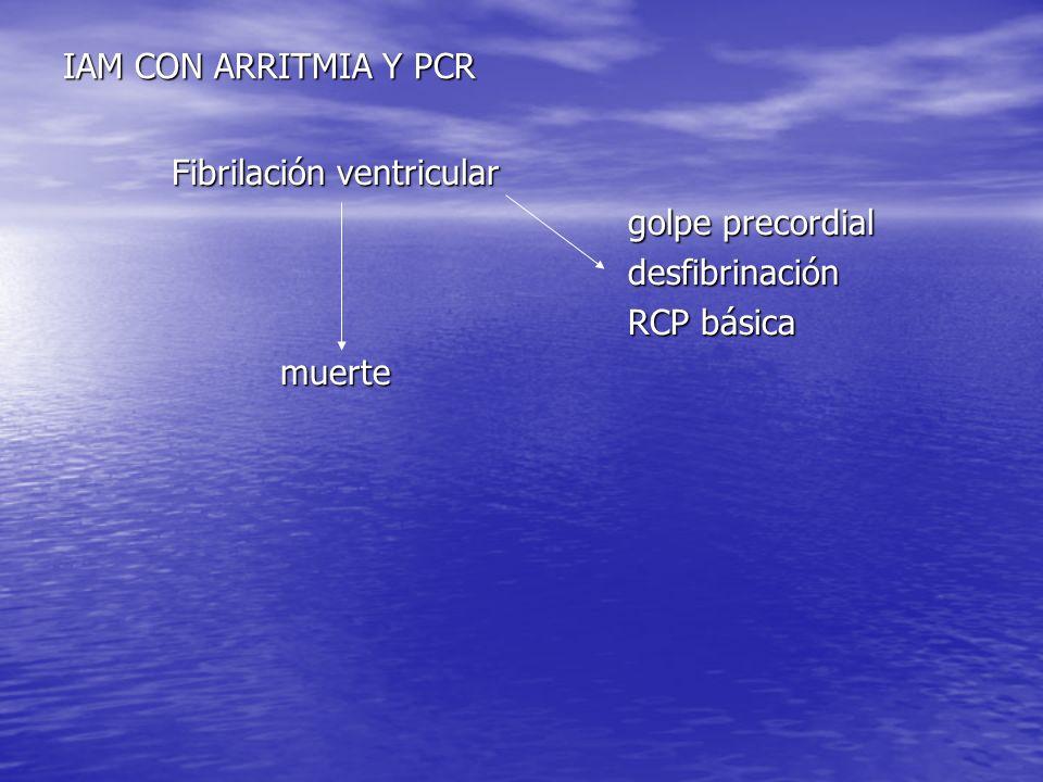IAM CON ARRITMIA Y PCR Fibrilación ventricular Fibrilación ventricular golpe precordial golpe precordial desfibrinación desfibrinación RCP básica RCP