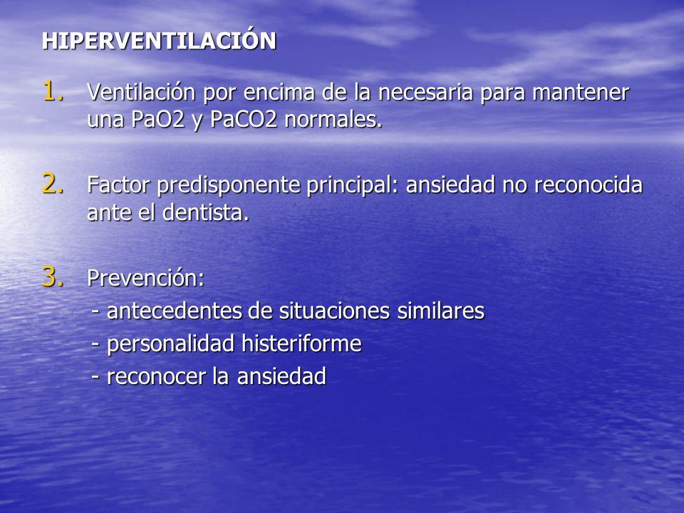 HIPERVENTILACIÓN 1. Ventilación por encima de la necesaria para mantener una PaO2 y PaCO2 normales. 2. Factor predisponente principal: ansiedad no rec