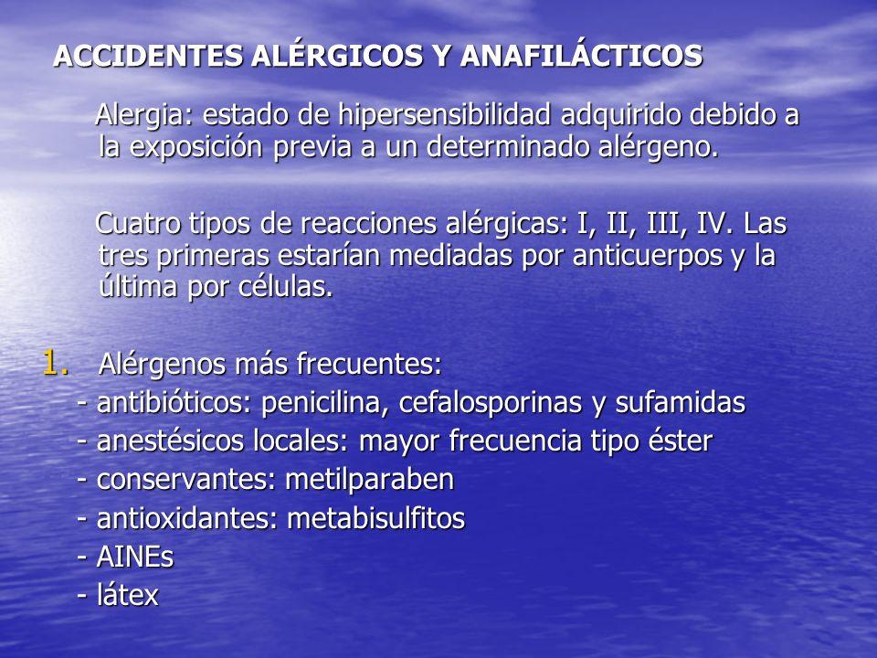 ACCIDENTES ALÉRGICOS Y ANAFILÁCTICOS Alergia: estado de hipersensibilidad adquirido debido a la exposición previa a un determinado alérgeno. Alergia: