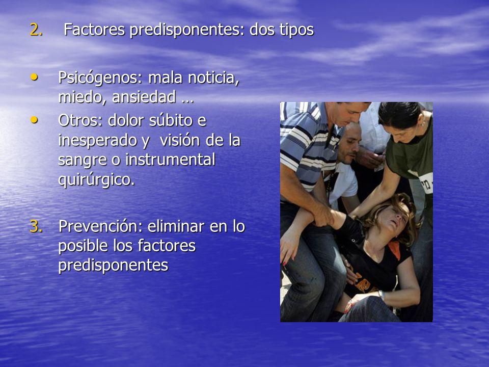 2. Factores predisponentes: dos tipos Psicógenos: mala noticia, miedo, ansiedad … Psicógenos: mala noticia, miedo, ansiedad … Otros: dolor súbito e in