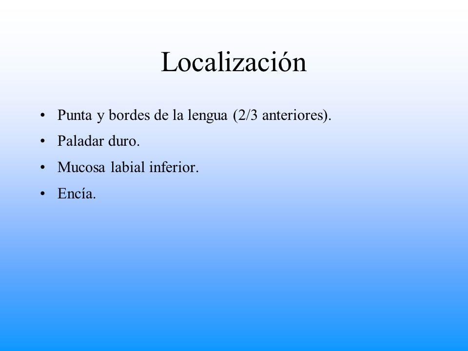 Localización Punta y bordes de la lengua (2/3 anteriores). Paladar duro. Mucosa labial inferior. Encía.