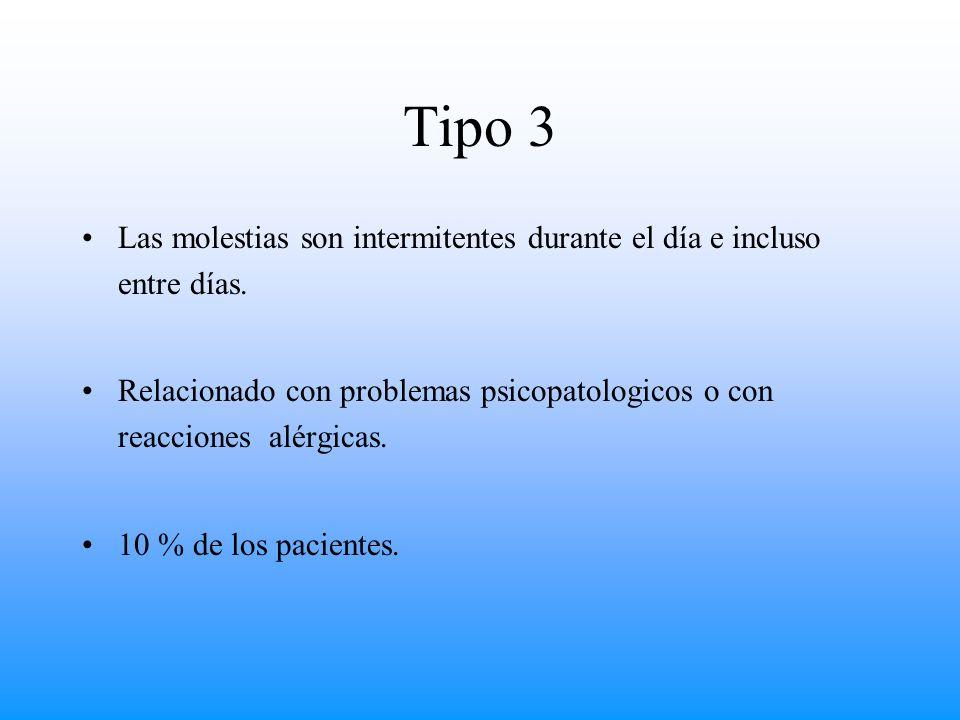 Tipo 3 Las molestias son intermitentes durante el día e incluso entre días. Relacionado con problemas psicopatologicos o con reacciones alérgicas. 10