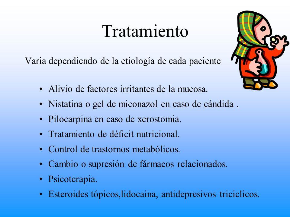 Tratamiento Varia dependiendo de la etiología de cada paciente Alivio de factores irritantes de la mucosa. Nistatina o gel de miconazol en caso de cán
