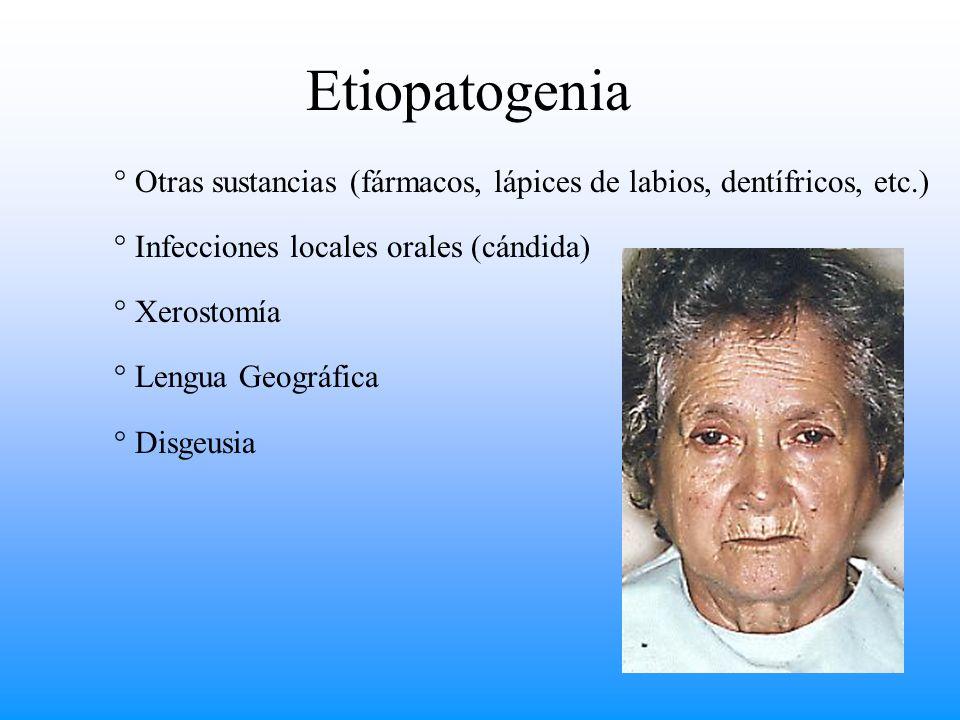 ° Otras sustancias (fármacos, lápices de labios, dentífricos, etc.) ° Infecciones locales orales (cándida) ° Xerostomía ° Lengua Geográfica ° Disgeusi