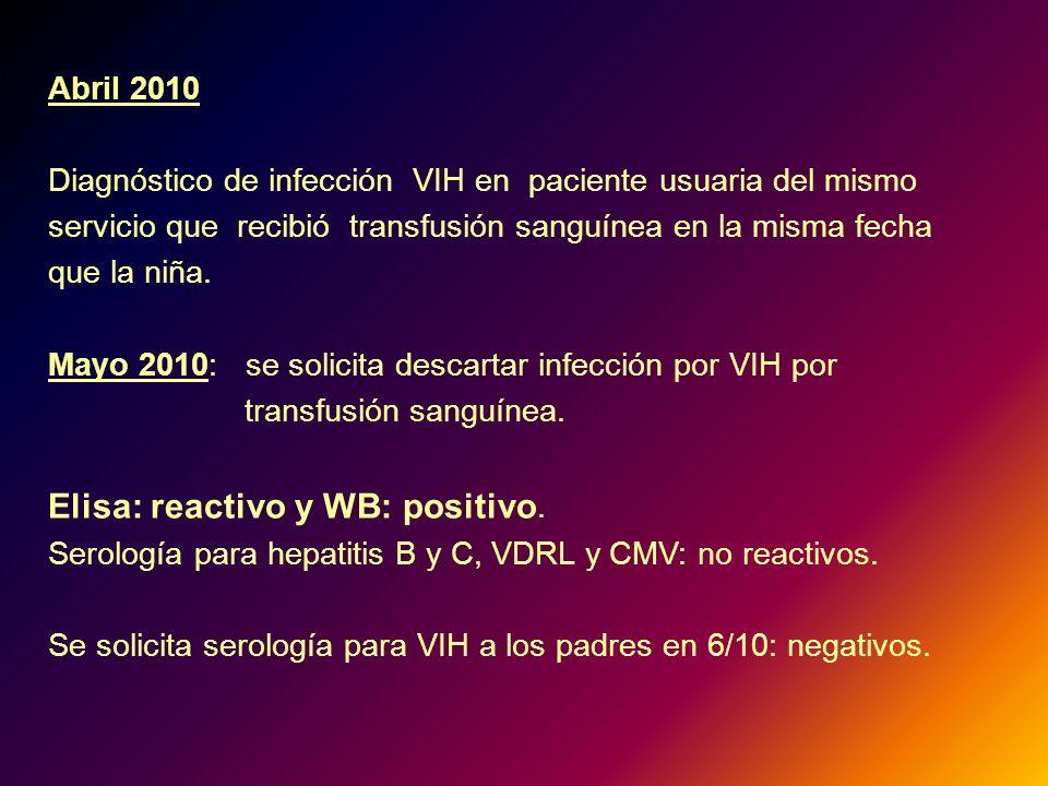 Abril 2010 Diagnóstico de infección VIH en paciente usuaria del mismo servicio que recibió transfusión sanguínea en la misma fecha que la niña. Mayo 2