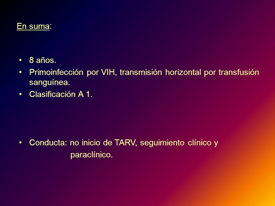 En suma : 8 años. Primoinfección por VIH, transmisión horizontal por transfusión sanguínea. Clasificación A 1. Conducta: no inicio de TARV, seguimient
