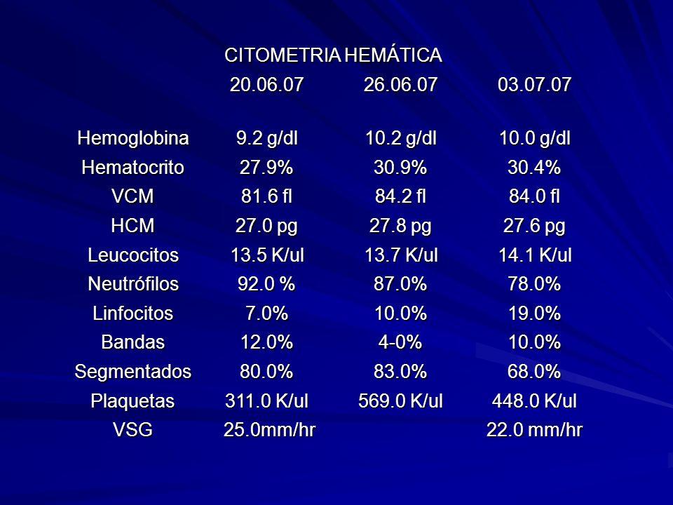 CITOMETRIA HEMÁTICA 20.06.0726.06.0703.07.07 Hemoglobina 9.2 g/dl 10.2 g/dl 10.0 g/dl Hematocrito27.9%30.9%30.4% VCM 81.6 fl 84.2 fl 84.0 fl HCM 27.0