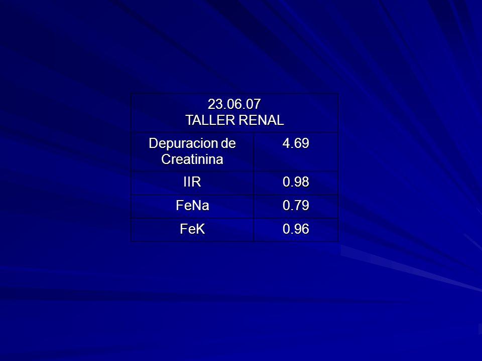 23.06.07 TALLER RENAL Depuracion de Creatinina4.69 IIR0.98 FeNa0.79 FeK0.96