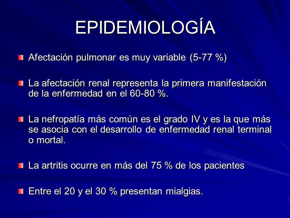 EPIDEMIOLOGÍA Afectación pulmonar es muy variable (5-77 %) La afectación renal representa la primera manifestación de la enfermedad en el 60-80 %. La