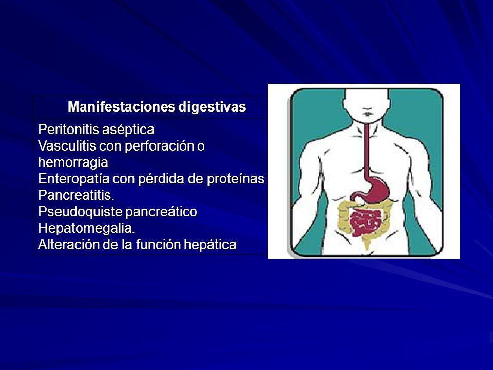 Manifestaciones digestivas Peritonitis aséptica Vasculitis con perforación o hemorragia Enteropatía con pérdida de proteínas Pancreatitis. Pseudoquist