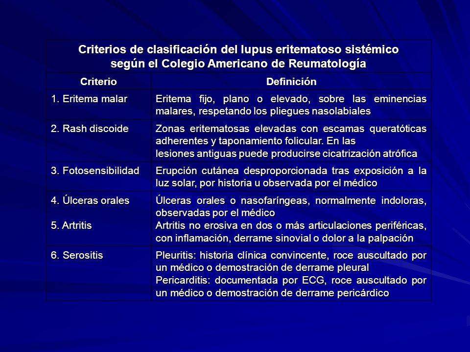Criterios de clasificación del lupus eritematoso sistémico según el Colegio Americano de Reumatología CriterioDefinición 1. Eritema malar Eritema fijo