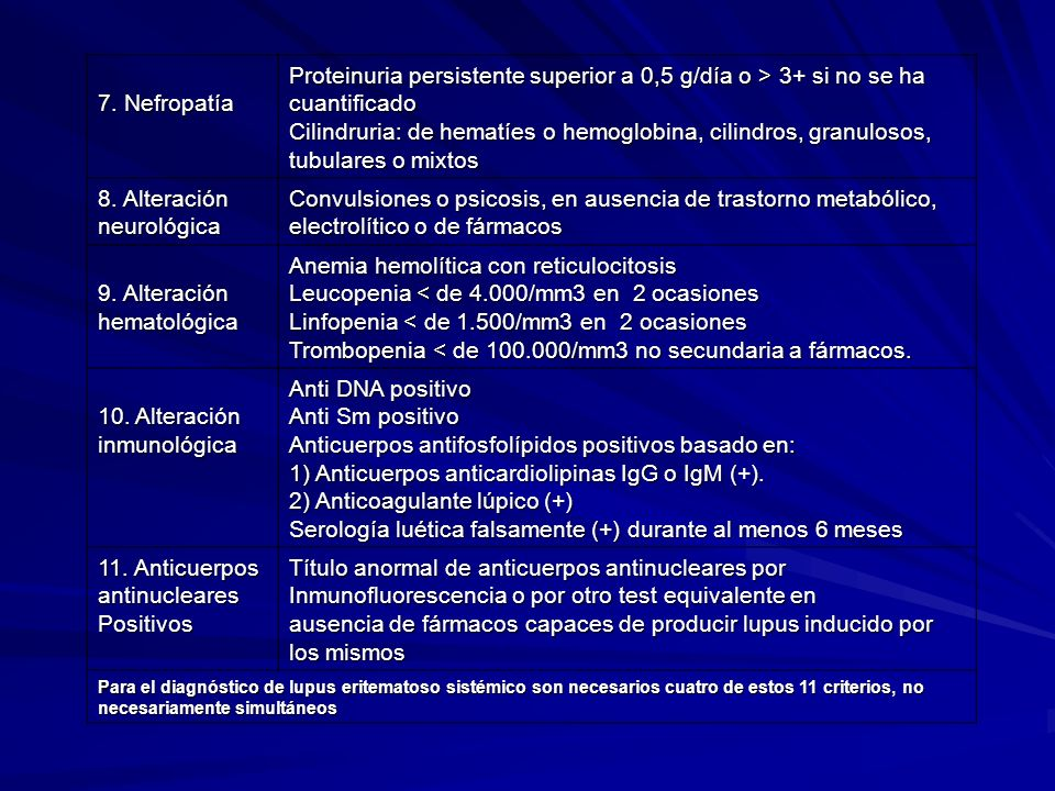 7. Nefropatía Proteinuria persistente superior a 0,5 g/día o > 3+ si no se ha cuantificado Cilindruria: de hematíes o hemoglobina, cilindros, granulos