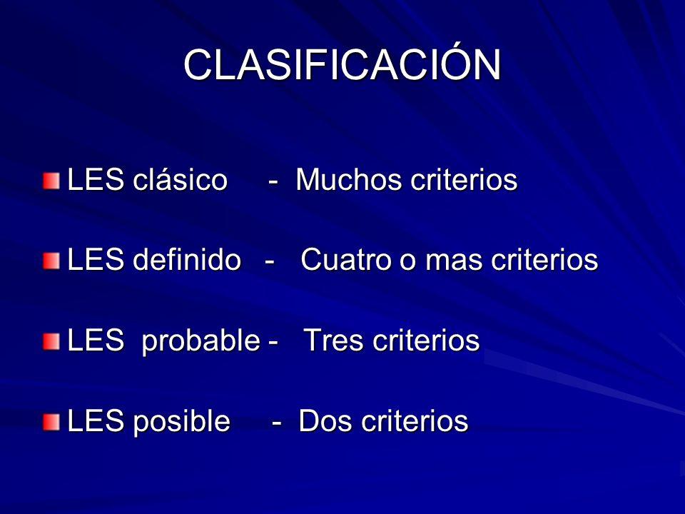 CLASIFICACIÓN LES clásico - Muchos criterios LES definido - Cuatro o mas criterios LES probable - Tres criterios LES posible - Dos criterios