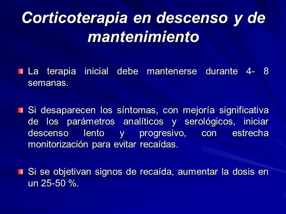 Corticoterapia en descenso y de mantenimiento La terapia inicial debe mantenerse durante 4- 8 semanas. Si desaparecen los síntomas, con mejoría signif
