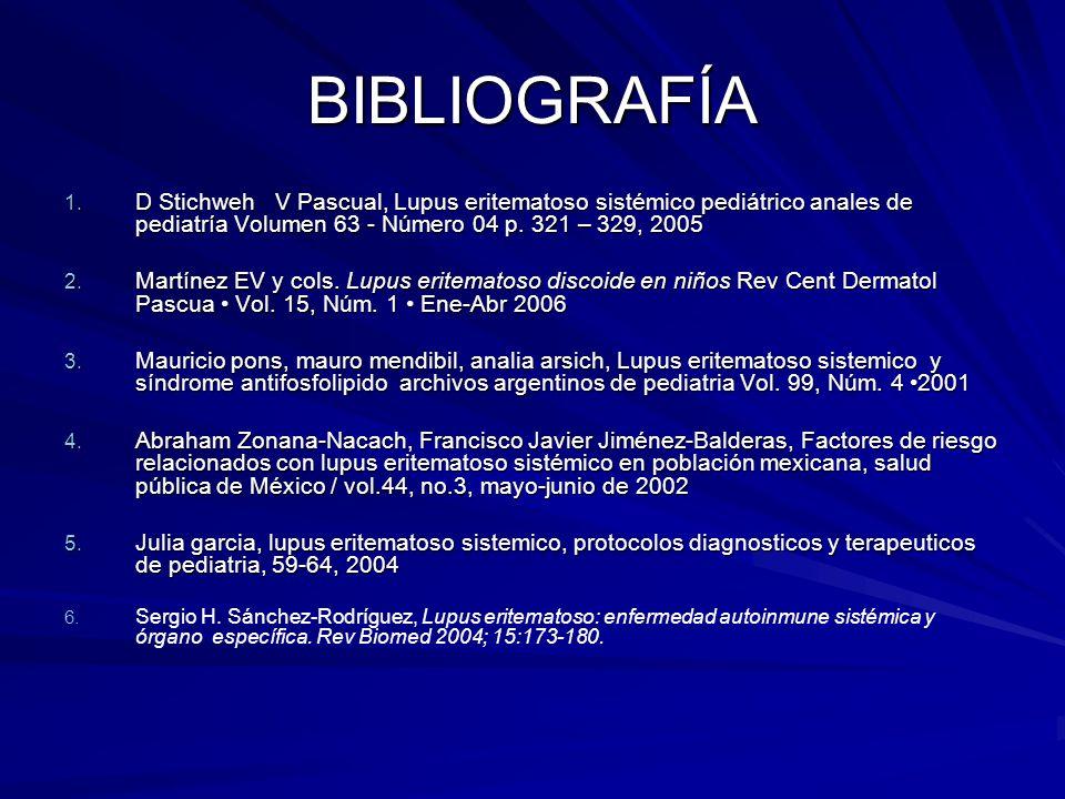 BIBLIOGRAFÍA 1. D Stichweh V Pascual, Lupus eritematoso sistémico pediátrico anales de pediatría Volumen 63 - Número 04 p. 321 – 329, 2005 2. Martínez