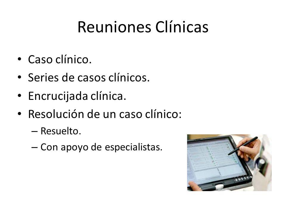 Reuniones Clínicas Caso clínico. Series de casos clínicos. Encrucijada clínica. Resolución de un caso clínico: – Resuelto. – Con apoyo de especialista