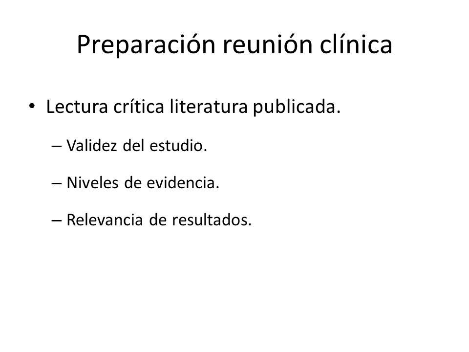 Preparación reunión clínica Lectura crítica literatura publicada. – Validez del estudio. – Niveles de evidencia. – Relevancia de resultados.