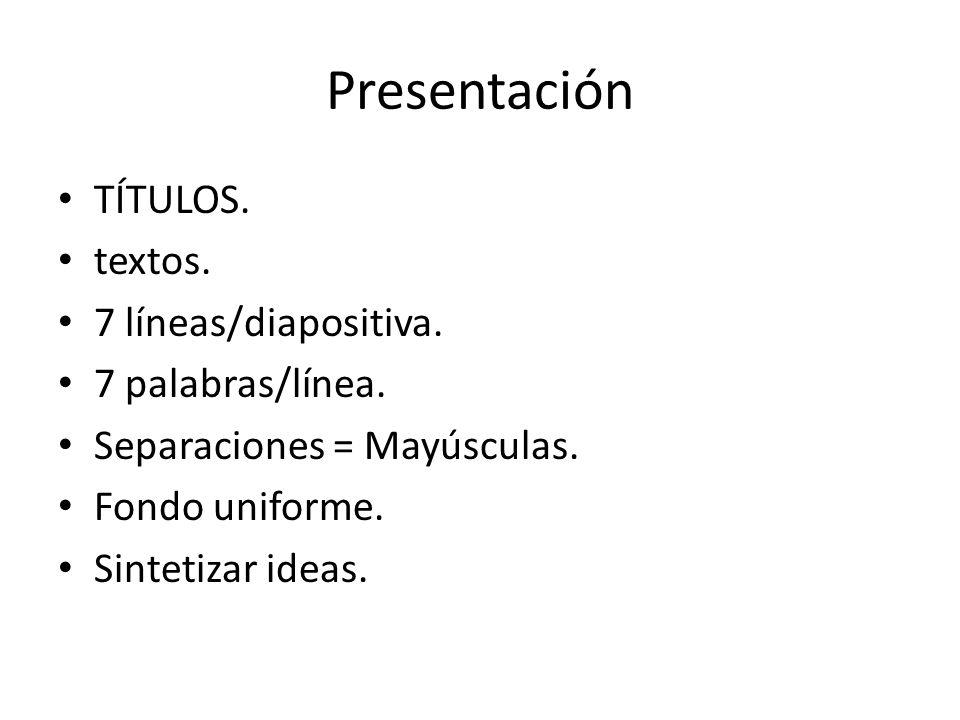 Presentación TÍTULOS. textos. 7 líneas/diapositiva. 7 palabras/línea. Separaciones = Mayúsculas. Fondo uniforme. Sintetizar ideas.
