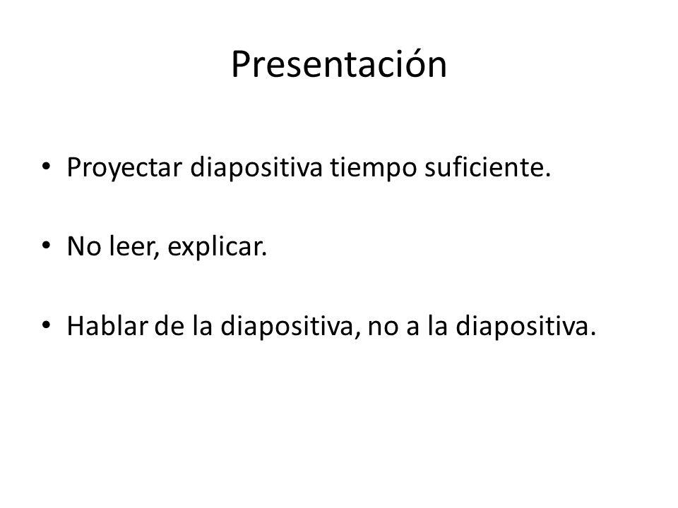 Presentación Proyectar diapositiva tiempo suficiente. No leer, explicar. Hablar de la diapositiva, no a la diapositiva.