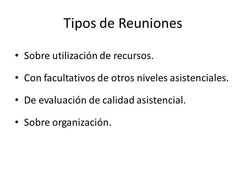 Tipos de Reuniones Sobre utilización de recursos. Con facultativos de otros niveles asistenciales. De evaluación de calidad asistencial. Sobre organiz