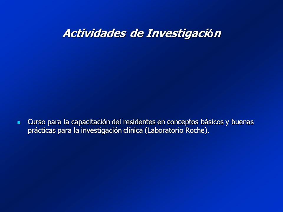 Actividades de Investigaci ó n Curso para la capacitación del residentes en conceptos básicos y buenas prácticas para la investigación clínica (Laboratorio Roche).