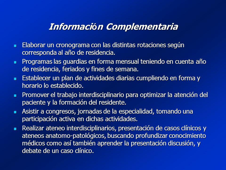 Informaci ó n Complementaria Recorrer junto a los médicos de planta y residentes el sector de la internación.