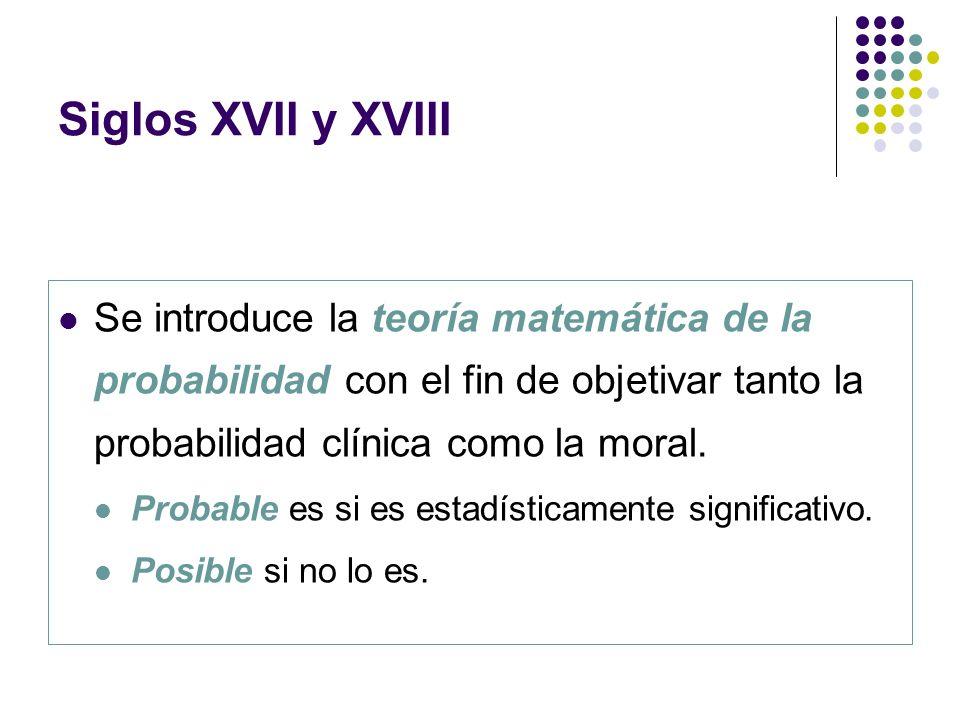 Se introduce la teoría matemática de la probabilidad con el fin de objetivar tanto la probabilidad clínica como la moral. Probable es si es estadístic