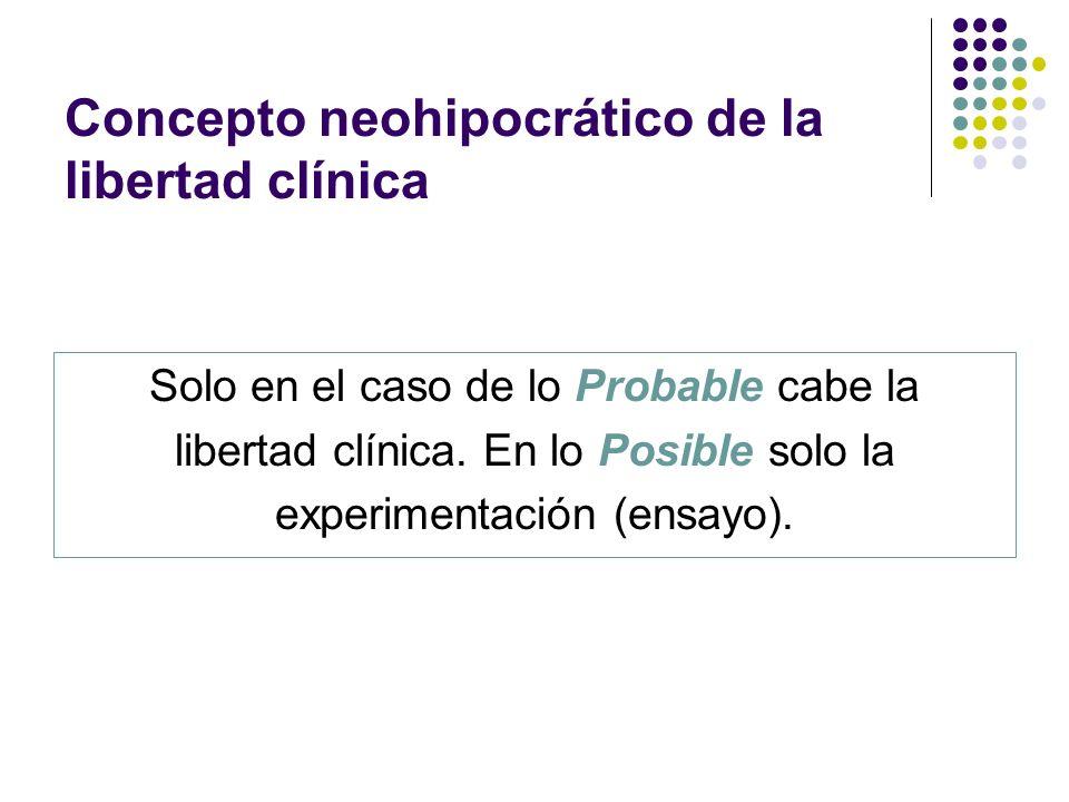 Concepto neohipocrático de la libertad clínica Solo en el caso de lo Probable cabe la libertad clínica. En lo Posible solo la experimentación (ensayo)