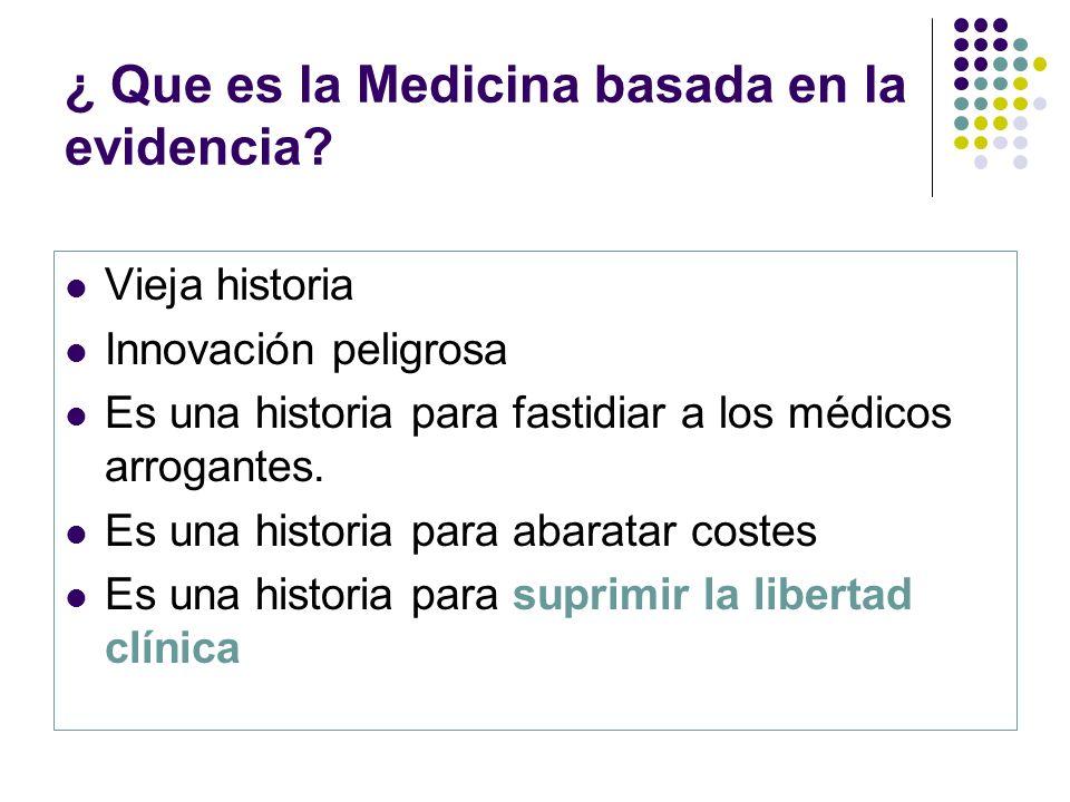 ¿ Que es la Medicina basada en la evidencia? Vieja historia Innovación peligrosa Es una historia para fastidiar a los médicos arrogantes. Es una histo