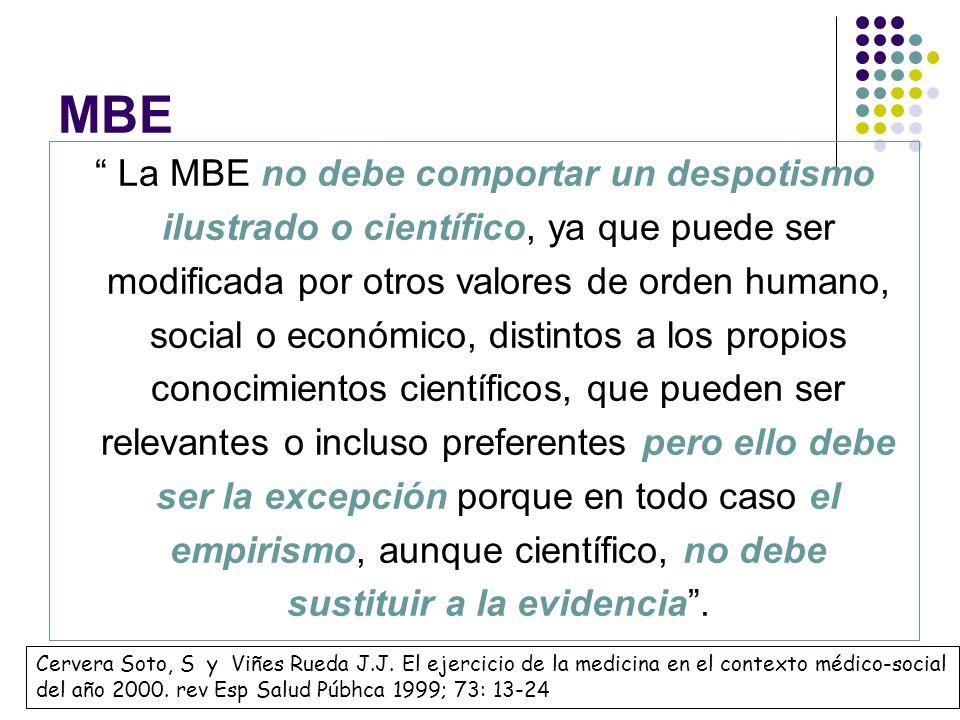 MBE La MBE no debe comportar un despotismo ilustrado o científico, ya que puede ser modificada por otros valores de orden humano, social o económico,