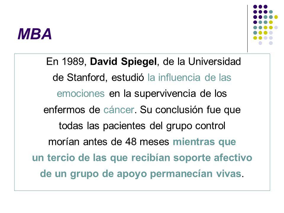 MBA En 1989, David Spiegel, de la Universidad de Stanford, estudió la influencia de las emociones en la supervivencia de los enfermos de cáncer. Su co