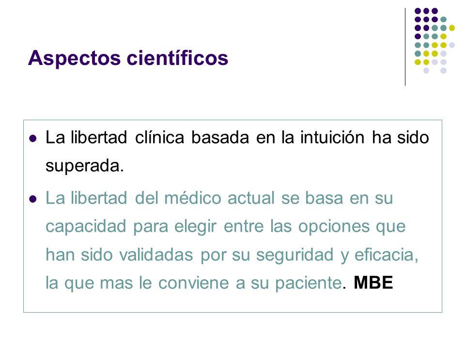 Aspectos científicos La libertad clínica basada en la intuición ha sido superada. La libertad del médico actual se basa en su capacidad para elegir en