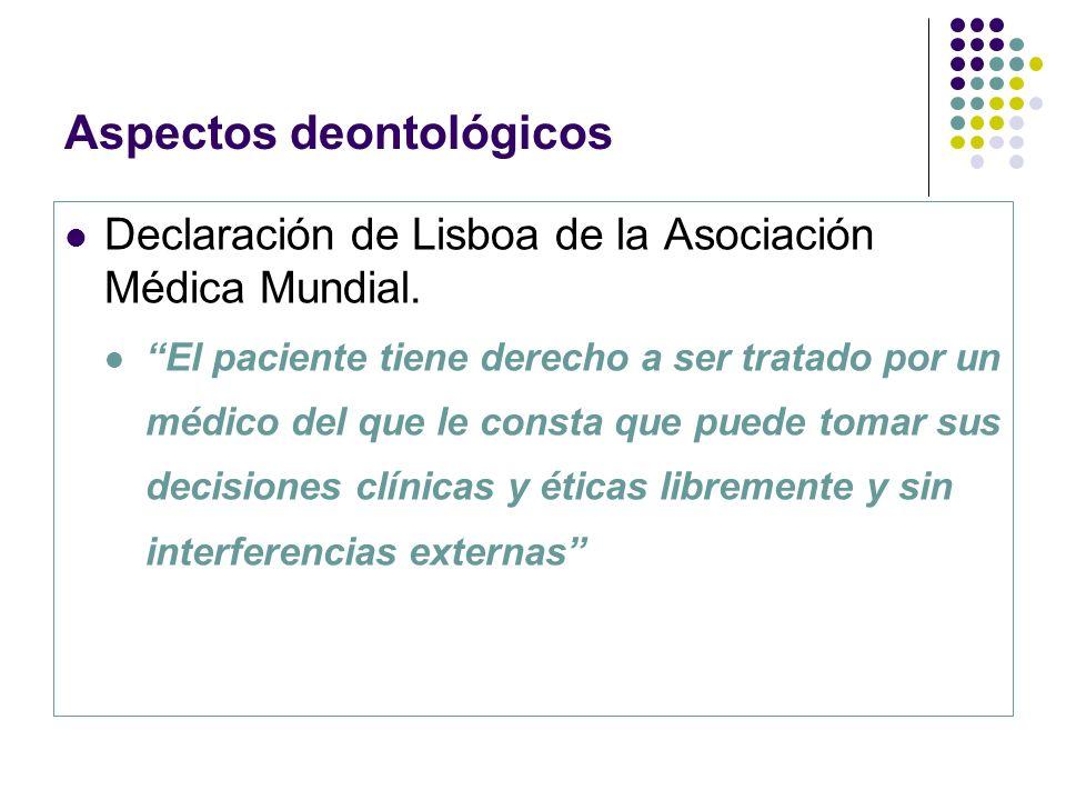 Aspectos deontológicos Declaración de Lisboa de la Asociación Médica Mundial. El paciente tiene derecho a ser tratado por un médico del que le consta