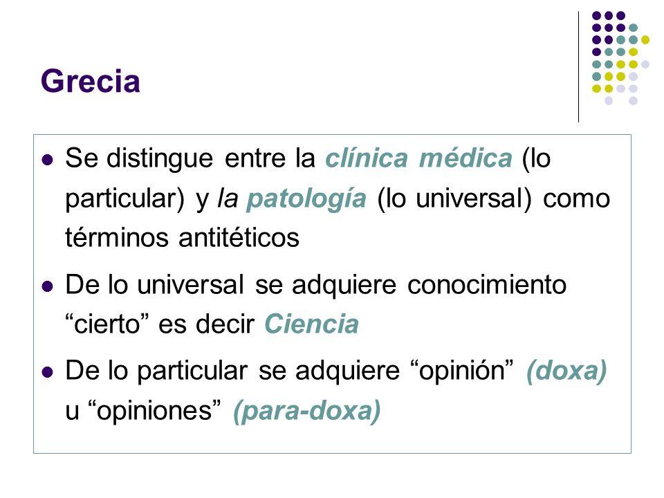 Grecia Se distingue entre la clínica médica (lo particular) y la patología (lo universal) como términos antitéticos De lo universal se adquiere conoci
