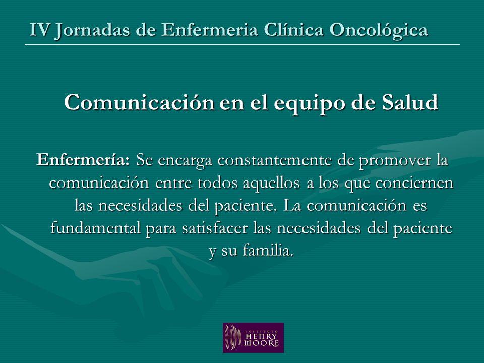 IV Jornadas de Enfermeria Clínica Oncológica Comunicación en el equipo de Salud Enfermería: Se encarga constantemente de promover la comunicación entr