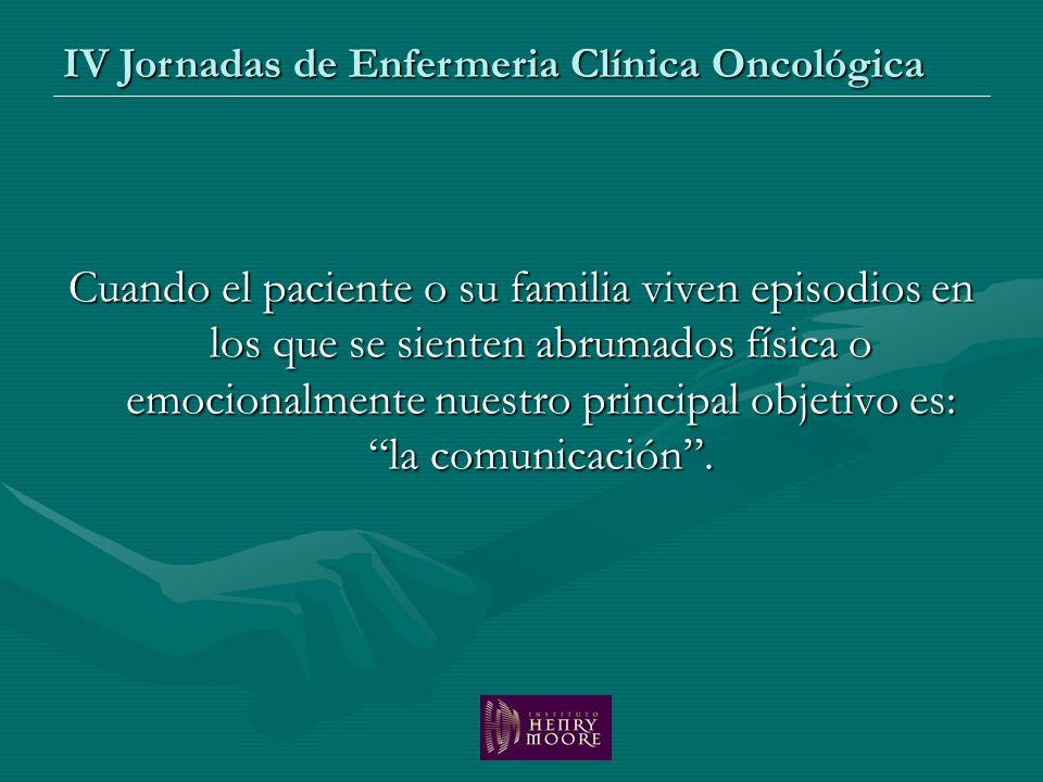 Cuando el paciente o su familia viven episodios en los que se sienten abrumados física o emocionalmente nuestro principal objetivo es: la comunicación