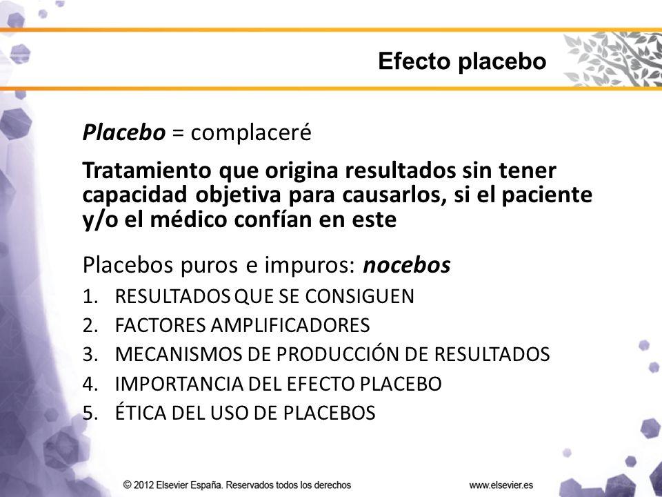 Placebo = complaceré Tratamiento que origina resultados sin tener capacidad objetiva para causarlos, si el paciente y/o el médico confían en este Placebos puros e impuros: nocebos 1.RESULTADOS QUE SE CONSIGUEN 2.FACTORES AMPLIFICADORES 3.MECANISMOS DE PRODUCCIÓN DE RESULTADOS 4.IMPORTANCIA DEL EFECTO PLACEBO 5.ÉTICA DEL USO DE PLACEBOS Efecto placebo