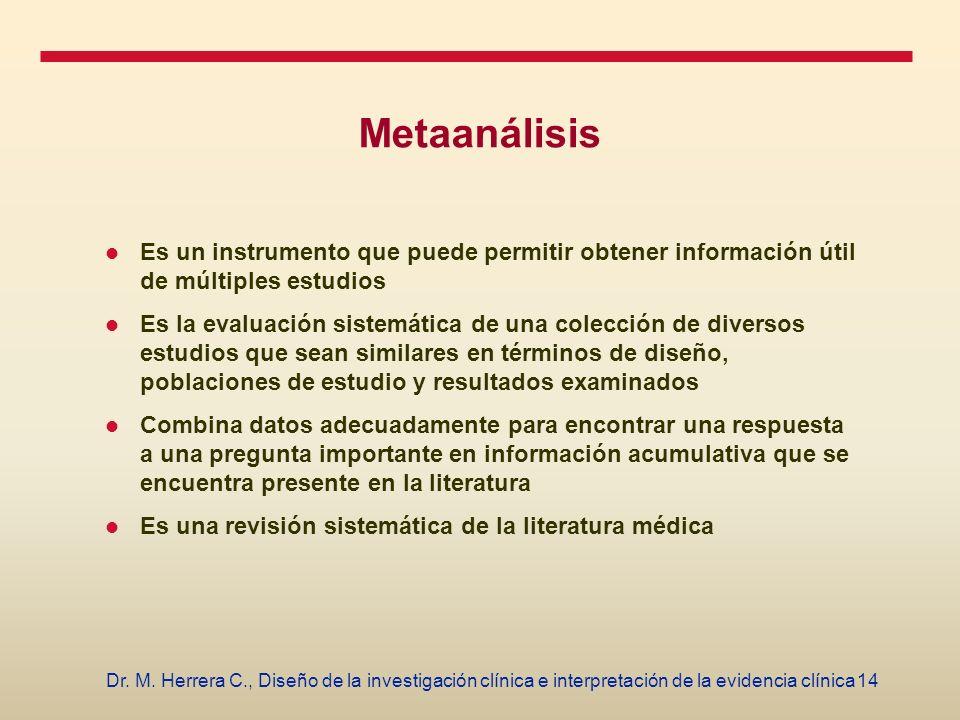 14Dr. M. Herrera C., Diseño de la investigación clínica e interpretación de la evidencia clínica Metaanálisis Es un instrumento que puede permitir obt