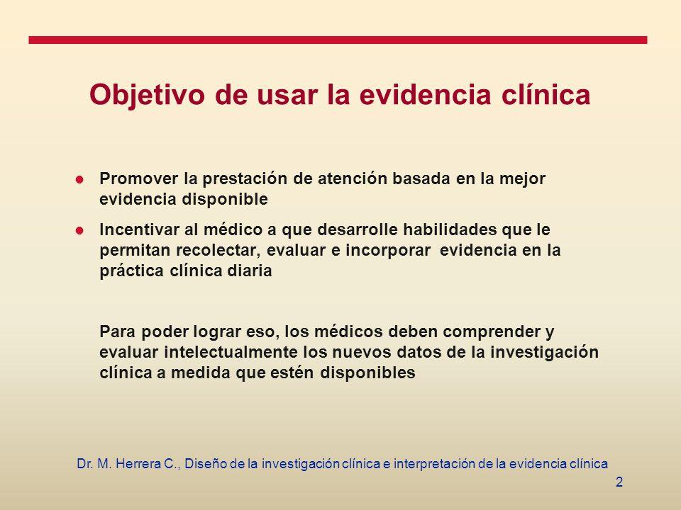 2 Dr. M. Herrera C., Diseño de la investigación clínica e interpretación de la evidencia clínica Objetivo de usar la evidencia clínica Promover la pre