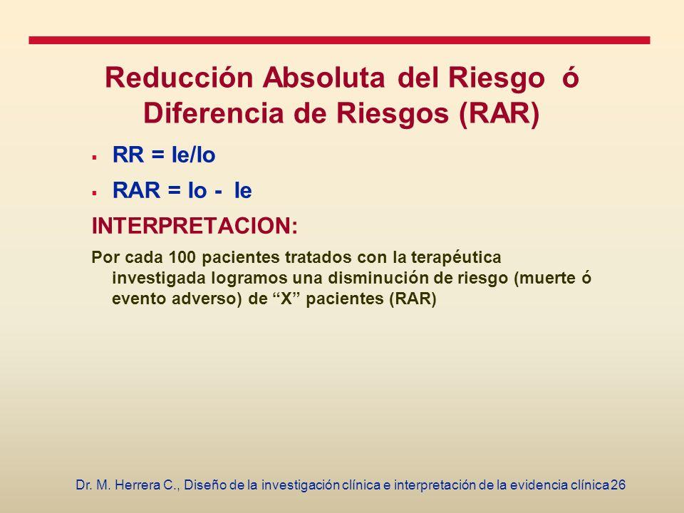 26Dr. M. Herrera C., Diseño de la investigación clínica e interpretación de la evidencia clínica Reducción Absoluta del Riesgo ó Diferencia de Riesgos
