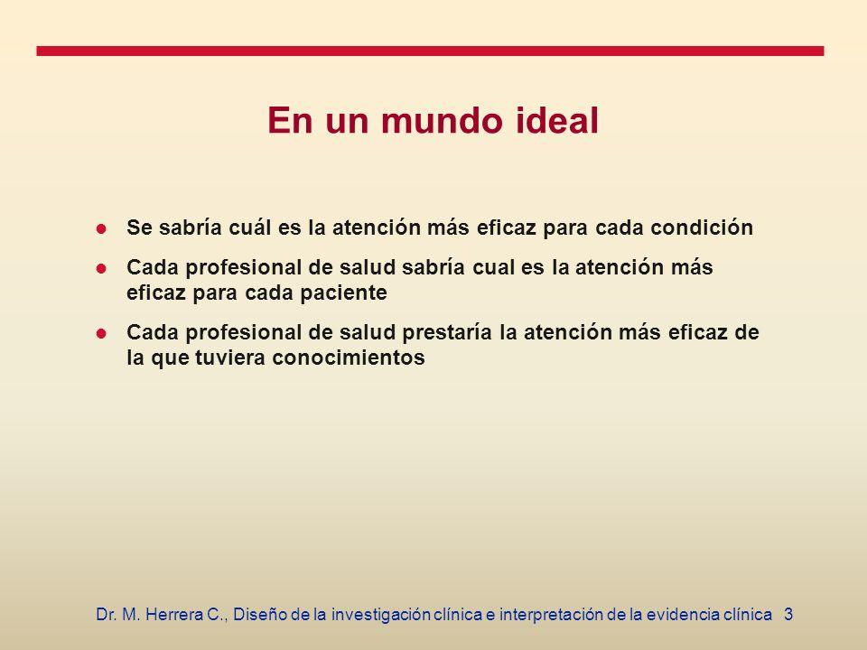 3Dr. M. Herrera C., Diseño de la investigación clínica e interpretación de la evidencia clínica En un mundo ideal Se sabría cuál es la atención más ef