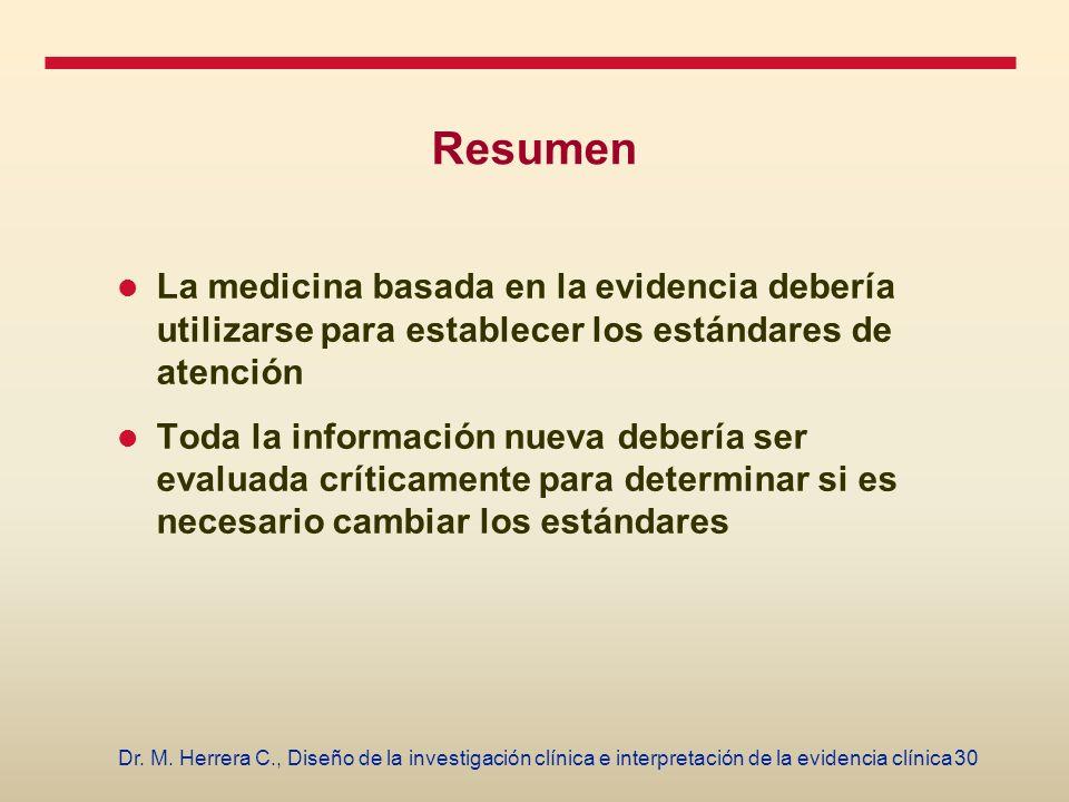 30Dr. M. Herrera C., Diseño de la investigación clínica e interpretación de la evidencia clínica Resumen La medicina basada en la evidencia debería ut
